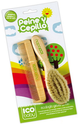 Picture of SET COMB & BRUSH FROM BEECH WOOD AND GOAT HAIR ICOBABY 7175