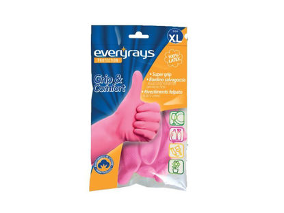 Picture of LATEX KITCHEN GLOVES PINK EXTRA LARGE EVERYRAYS